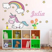 vinilo decorativo unicornio con nombre