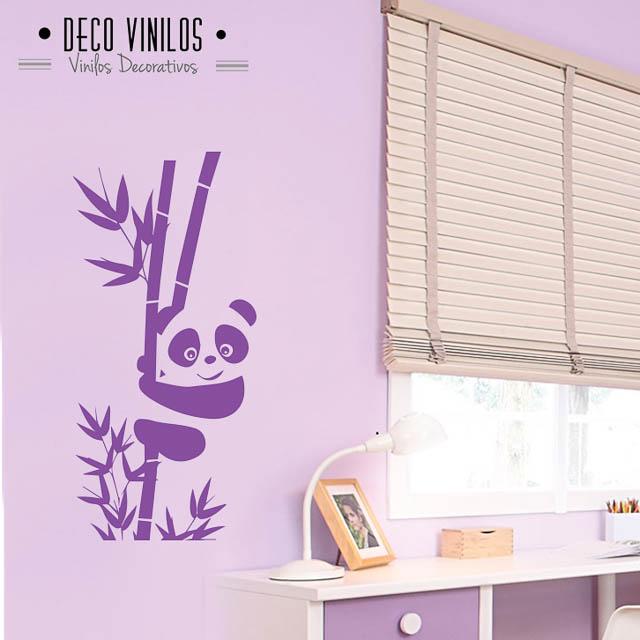 vinilo decorativo osito panda con bambú