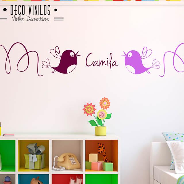 vinilo decorativo pajaritos con nombre nena
