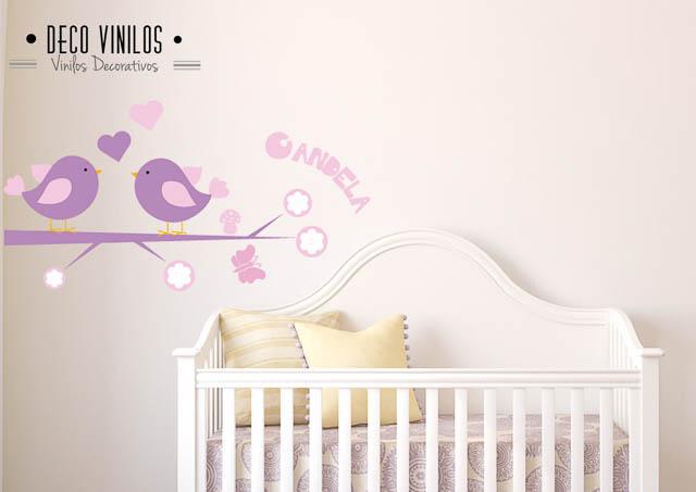 vinilo decorativo pajaritos con nombre bebé