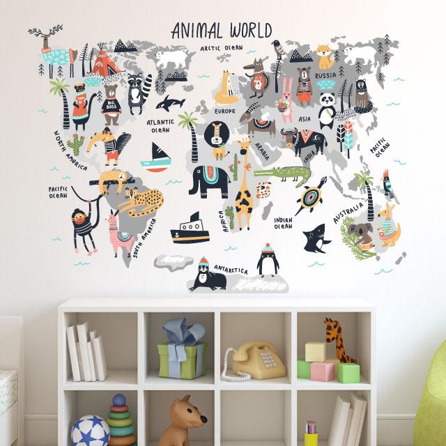 Mapamundi Infantil con Animales Estilo Nórdico